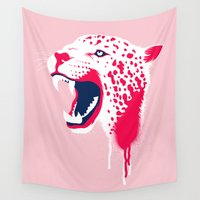 jaguar Wall Tapestries featuring Jaguar Head by Eyes Wide Awake