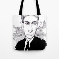 kafka Tote Bags featuring Franz Kafka by Howard Coale