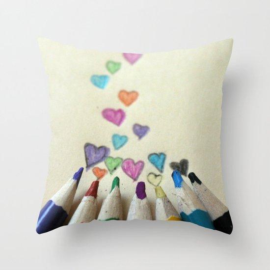 pencil crayon love Throw Pillow