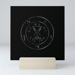 Sigil of Lucifer, sigil of Baphomet, Samael, Lilith silver pentagram Mini Art Print