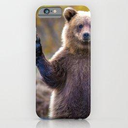 Funny Gorgeous Brown Bear Fishing Looks Like He Is Waving At Us Ultra HD iPhone Case