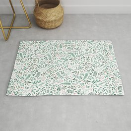 Green Leaves and Red Berries. Rug