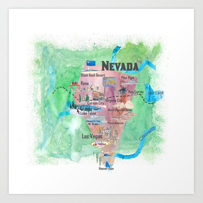 USA Nevada State Illustrated Travel Poster Favorite Map Art Print by  artshop77