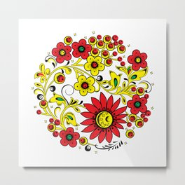 Floral hohloma Metal Print