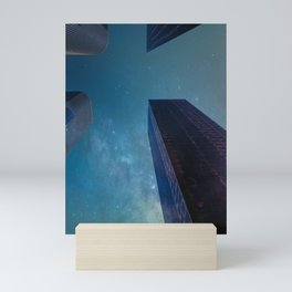 Sky-scraping to Space (Blue) Mini Art Print