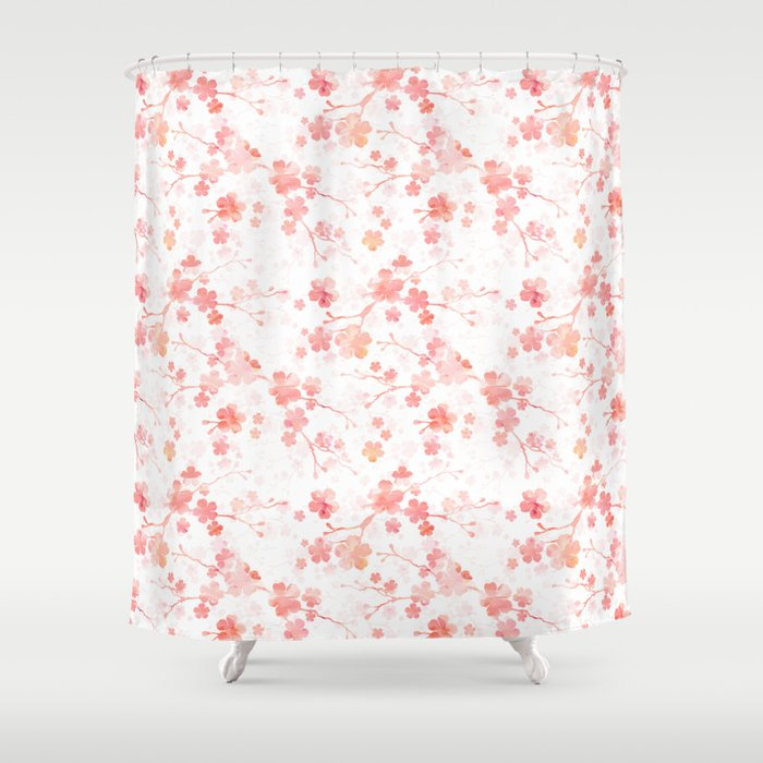 Peach pink Chinese cherry blossom on white Shower Curtain