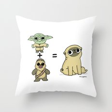 The origin of pugs Throw Pillow