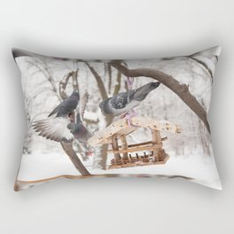 pigeons sitting on bird feeder Rectangular Pillow