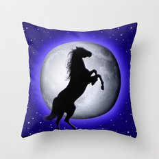 Wild Horse on Surreal Blue Moon  Throw Pillow