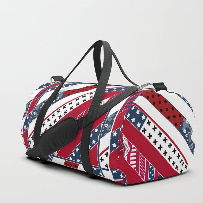 .Red blue Patriotic patchwork Duffle Bag