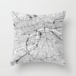 London White Map Throw Pillow