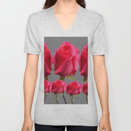 SEVEN PINK BUD ROSES ON GREY COLOR Unisex V-Neck