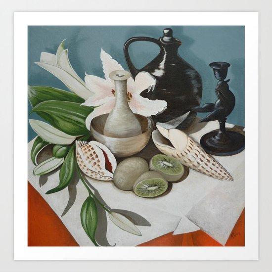 Kiwi fruit & Lillies Art Print