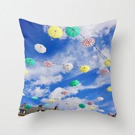 Colourful Umbrellas Throw Pillow
