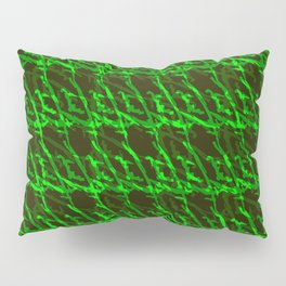 Braided geometric pattern of wire and light blue arrows on a dark background. Pillow Sham