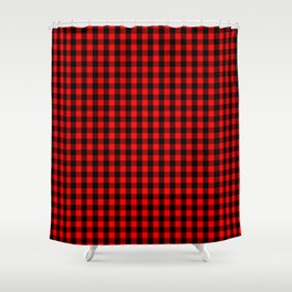 Mini Red and Black Buffalo Check Plaid Tartan Shower Curtain