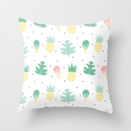 summer pattern background illustration with exotic leaves, pineapples and ice cream Throw Pillow