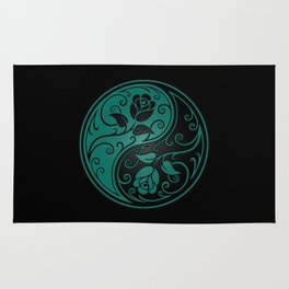 Teal Blue and Black Yin Yang Roses Rug