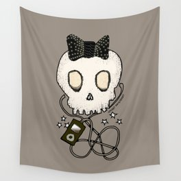 Girly Skull with Black Bow / Die for Music Wall Tapestry