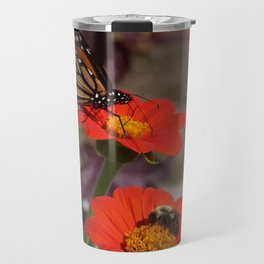 Bumble Bee and Monarch Butterfly on Red and Yellow Flower Travel Mug