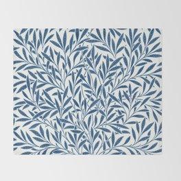 William Morris Navy Blue Botanical Pattern 9 Throw Blanket