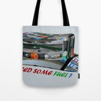 pocket fuel Tote Bags featuring Need Some Fuel ? by Avigur