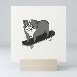 Skateboarding English Bulldog Mini Art Print