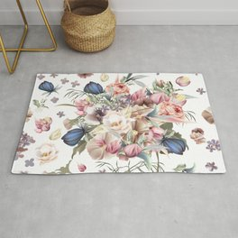 Spring mood illustration with roses Rug