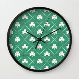 SHAMROCK ON! - emerald Wall Clock