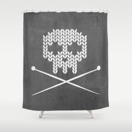 Knitted Skull (White on Grey) Shower Curtain