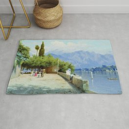 View Of Lake Como 1897 By Fyodor Bronnikov | Reproduction | Romanticism Painting Rug