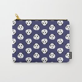Blue Pixel Panda Pattern Carry-All Pouch