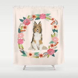 Sheltie floral wreath dog breed shetland sheepdog pet portrait Shower Curtain