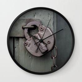 Rusty Adlake Padlock and Chain on Green Wooden Door Rust  Wall Clock