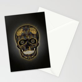 Skull Yellow | Tessellating Skulls Pattern | M. C. Escher Inspired Geometric Artwork by Tessellation Stationery Cards
