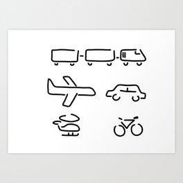turn mobility travel Art Print