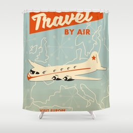 """1950s style """"by air"""" travel poster print. Shower Curtain"""