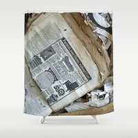 newspaper Shower Curtains featuring Old Newspaper Left to the Elements...Furnish Your Home in Style by Andrea Jean Clausen - andreajeanco