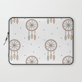 cute cartoon flat pattern background with native american indian dreamcatcher Laptop Sleeve
