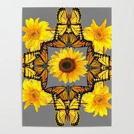 WESTERN STYLE YELLOW SUNFLOWERS & ORANGE MONARCH BUTTERFLIES Poster