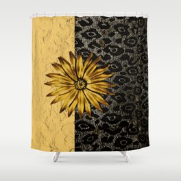 ANIMAL PRINT BLACK AND GOLD FLOWER MEDALLION Shower Curtain