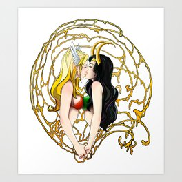 Ledy Thor and Ledy Loki Art Print