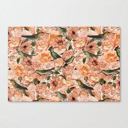 Nostalgic Flower And Hummingbird Pattern Canvas Print