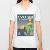 travel poster V-neck T-shirts featuring Kyoshi Island Travel Poster by HenryConradTaylor