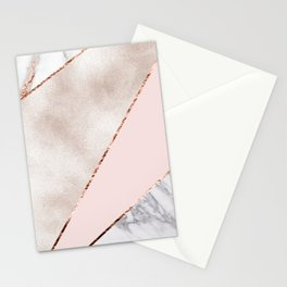Spliced mixed rose gold marble Stationery Cards