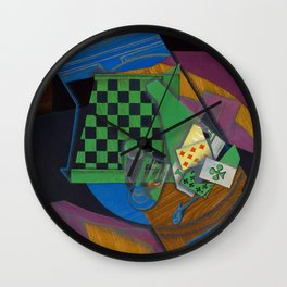 Juan Gris - Digital Remastered Edition - Checker board and playing cards Wall Clock