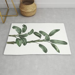 Banana Leaf Trees - Tropical Watercolour Trees illustration Rug
