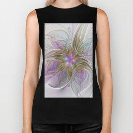 Flourish, Abstract Fractal Art Flower Biker Tank