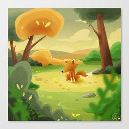 Fox and chicks Canvas Print