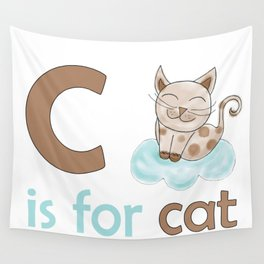 c is for cat, children alphabet for kids room and nursery Wall Tapestry
